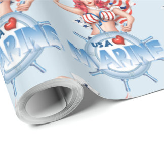 "SEXY MARINE USA 30"" x 30'   CARTOON Wrapping Paper"