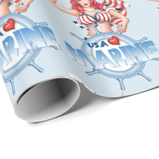 "SEXY MARINE USA 30"" x 6'   CARTOON Wrapping Paper"