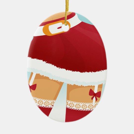 sexy mrs santa claus ceramic ornament