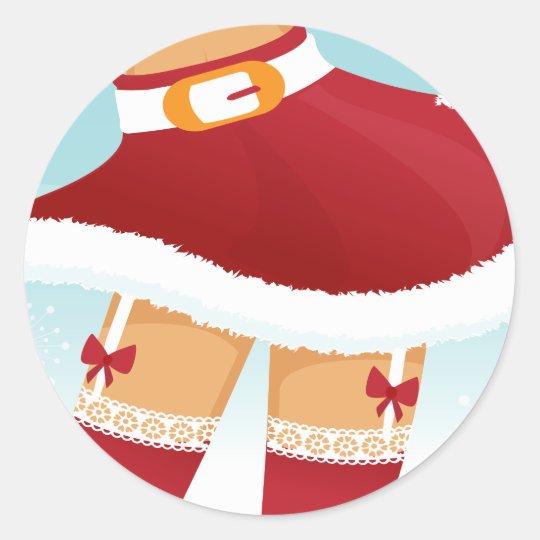 sexy mrs santa claus classic round sticker
