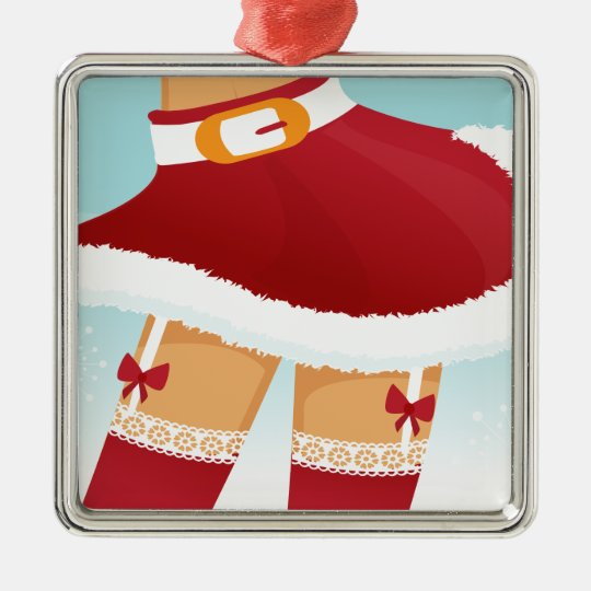 sexy mrs santa claus metal ornament