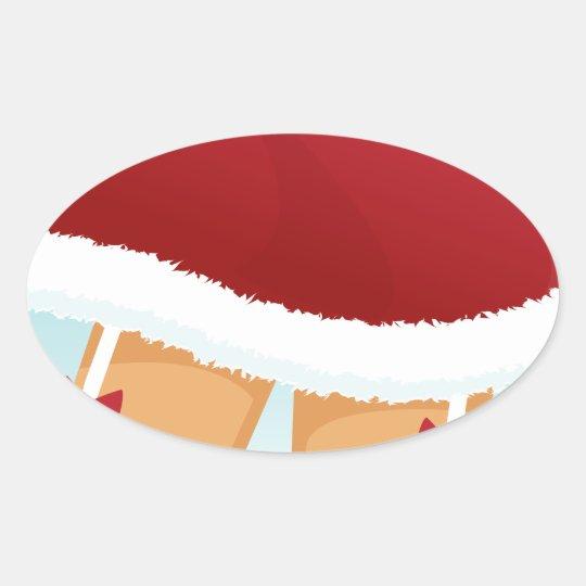 sexy mrs santa claus oval sticker