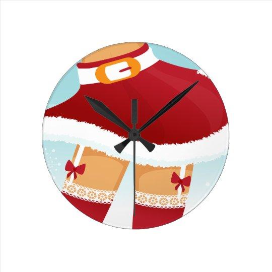 sexy mrs santa claus round clock