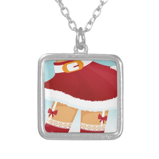 sexy mrs santa claus silver plated necklace