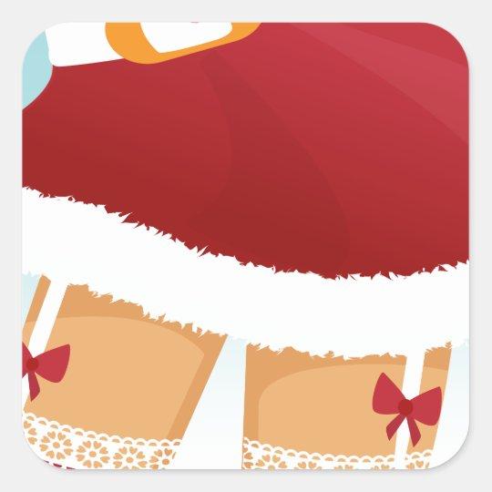 sexy mrs santa claus square sticker