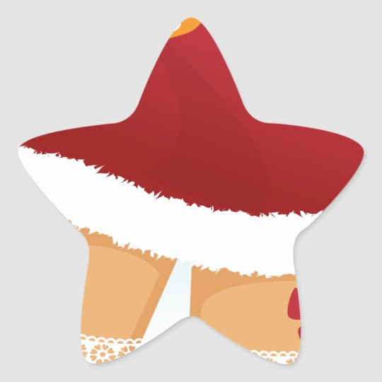 sexy mrs santa claus star sticker