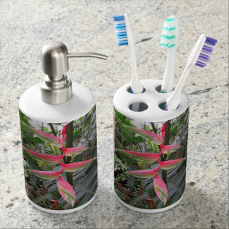 Sexy Pink Heliconia Soap Dispenser And Toothbrush Holder