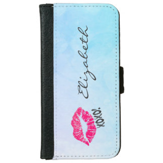 Sexy Pink Kissy Lips with xoxo! Blue Watercolor iPhone 6 Wallet Case
