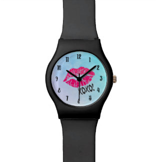 Sexy Pink Kissy Lips with xoxo! Blue Watercolor Watch