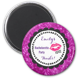 Sexy Pink Kissy Lips with xoxo! Faux Pink Glitter 6 Cm Round Magnet