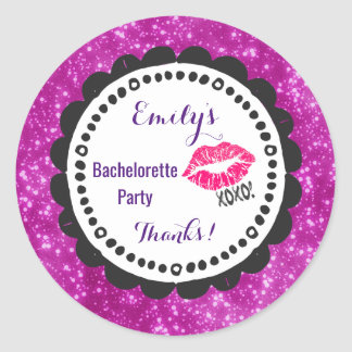 Sexy Pink Kissy Lips with xoxo! Party Thanks Classic Round Sticker
