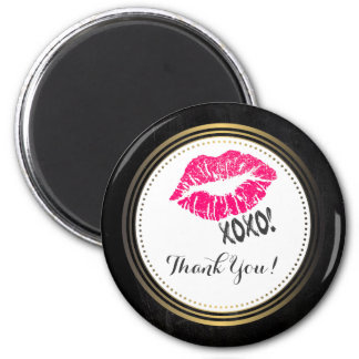 Sexy Pink Kissy Lips with xoxo! Thank You 6 Cm Round Magnet