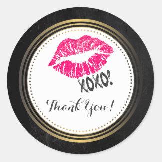 Sexy Pink Kissy Lips with xoxo! Thanks Classic Round Sticker