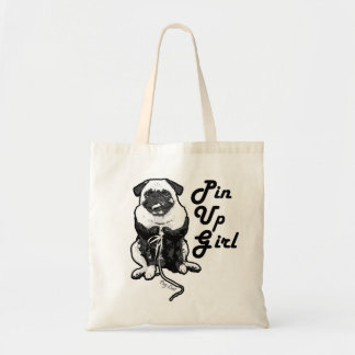 Sexy Pug is a Real Pin Up Girl Budget Tote Bag
