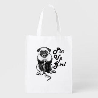 Sexy Pug is a Real Pin Up Girl Reusable Grocery Bag