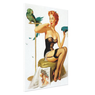 Sexy red hair pinup girl canvas prints