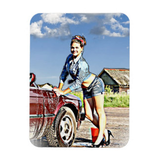 Sexy Siren Retro Lady Washing Car Magnet