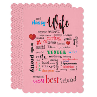 Sexy Wife Word Cloud Soulmate Partner Friend Card