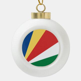 Seychelles Flag Ceramic Ball Christmas Ornament