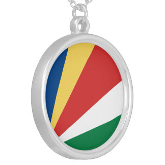 Seychelles Flag Silver Plated Necklace
