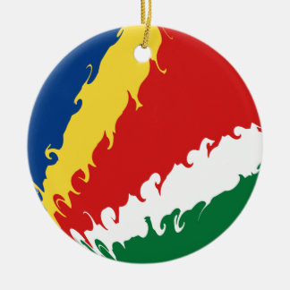 Seychelles Gnarly Flag Ceramic Ornament