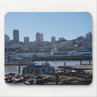 SF City Skyline & Pier 39 Sea Lions Mousepad