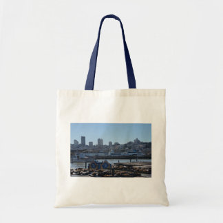 SF City Skyline & Pier 39 Sea Lions Tote Bag