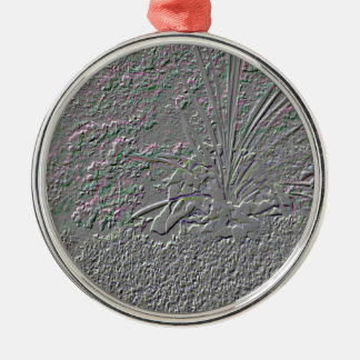 SF Embossed Silver-Colored Round Decoration