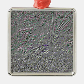 SF Embossed Silver-Colored Square Decoration