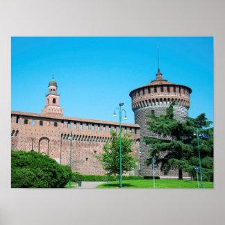 Sforza Castle tower italy milan architecture landm Poster