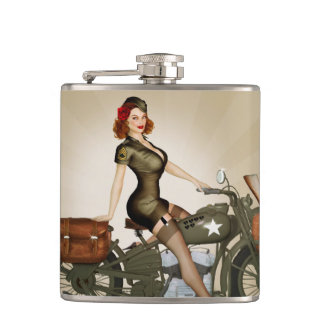 Sgt. Davidson Army Motorcycle Pinup Flask
