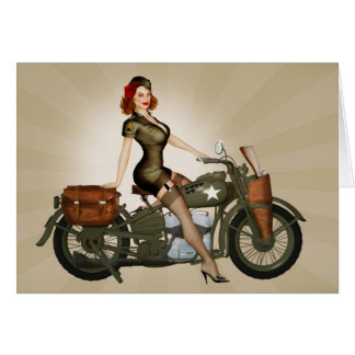 Sgt. Davidson Army Motorcycle Pinup Greeting Card