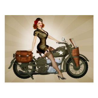 Sgt. Davidson Army Motorcycle Pinup Postcard