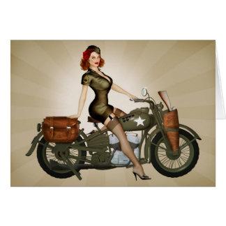 Sgt. Davidson Motorcycle Pinup Greeting Card