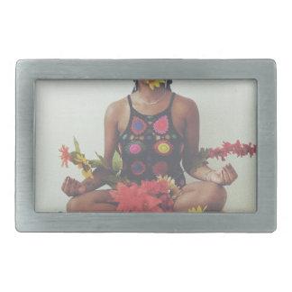 Sha Davis Meditation floral design Belt Buckles