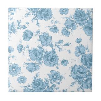 Shabby Blue French Toile Ceramic Tile