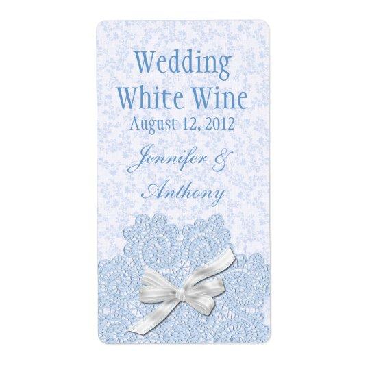 Shabby Blue Victorian Wedding Mini Wine Shipping Label