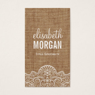 Shabby Burlap with Elegant Lace - Retro Rustic Business Card