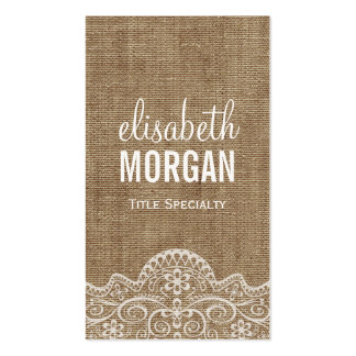 Shabby Burlap with Elegant Lace - Retro Rustic Pack Of Standard Business Cards