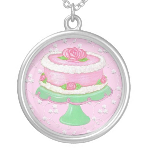 Shabby Cake with Roses ~ Necklace