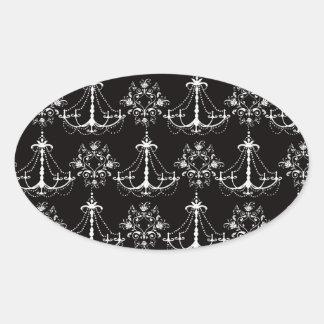 shabby chandelier white black damask oval sticker