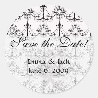 shabby chandelier white black damask round sticker