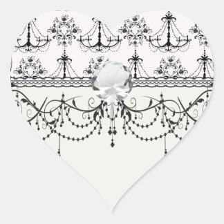 shabby chandelier white black damask sticker