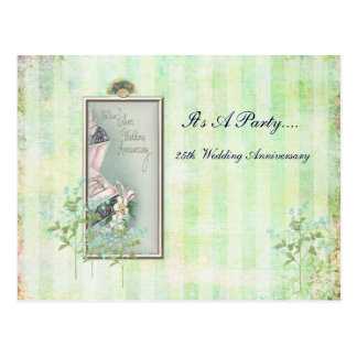 Shabby chic 25th Wedding Invitation Postcard