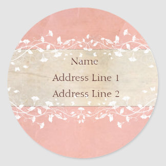 Shabby Chic Address Labels Round Sticker