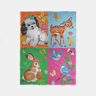 Shabby Chic Baby Animal Fleece Nursery Blanket