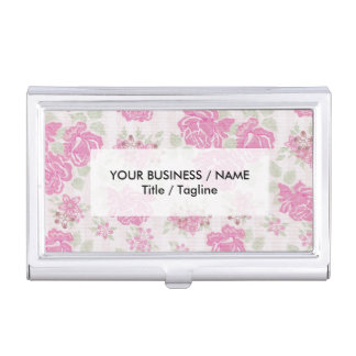 Shabby chic baby pink green roses flowers pattern business card holder