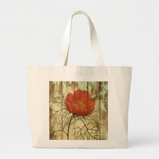 shabby chic barn wood poppy flower large tote bag