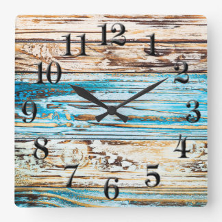 Shabby Chic Beach Weathered Boards Square Clock