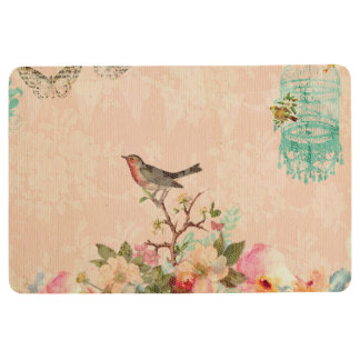 Shabby chic, bird,butterfly,lace,floral,country ch floor mat